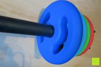 innen: Langhantel GEPOLSTERT inkl. Federverschluss / Gewichtsvarianten 2kg 4kg 6kg 8kg 10kg 12kg 14kg 18kg 20kg in unterschiedlichen Farben