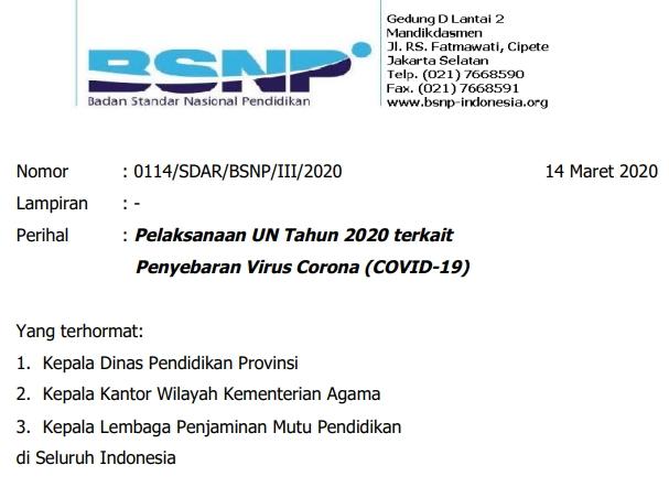 Surat Edaran BSNP Tentang Pelaksanaan UN 2020 Terkait Virus Corona/Covid-19