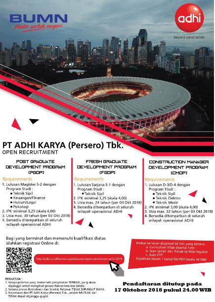 Lowongan Kerja BUMN PT Adhi Karya (Persero) Tahun 2018