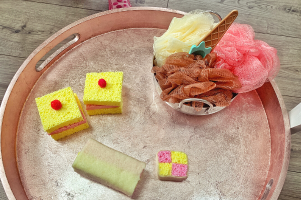 tray with pretend sponge cake, battenberg and ice cream