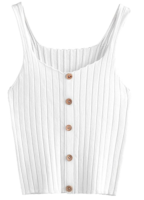 SweatyRocks Women's Sleeveless Button Up Tank