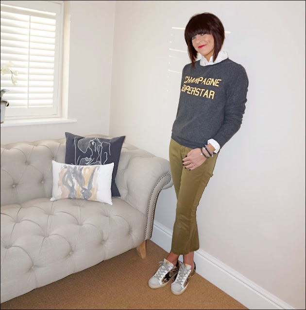 My Midlife fashion, wildfox champagne superstar sweatshirt, uniqlo high collar ruffle shirt, j crew sammie cropped stretch cotton trousers, golden goose distressed leather panel calf hair superstar trainers, meme london bracelets