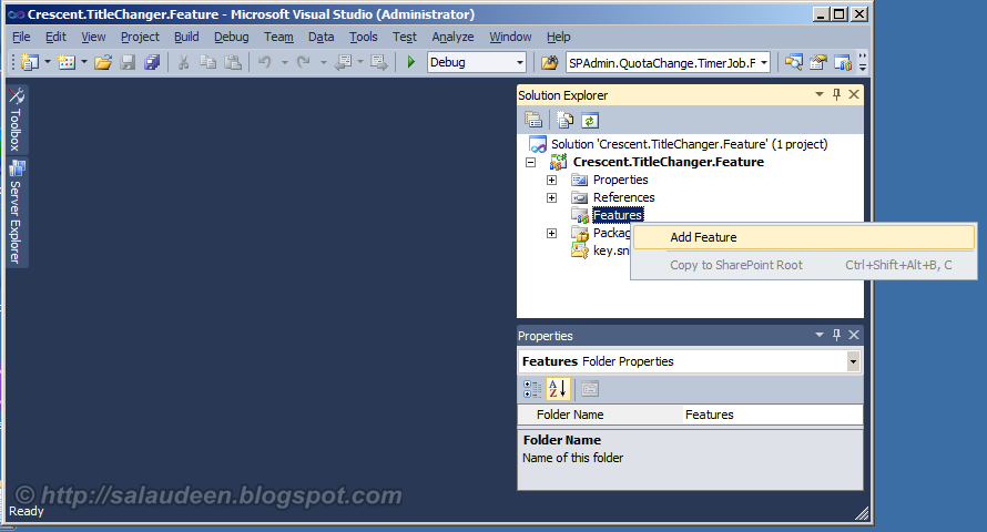 how to create a feature receiver sharepoint 2010