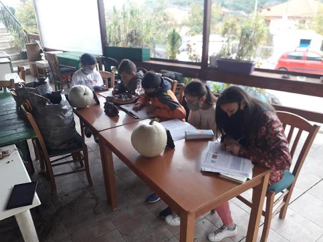 Τηλεκπαίδευση 5 παιδιών μέσα στο κρύο, σε καφενείο χωριού, με ένα τηλέφωνο