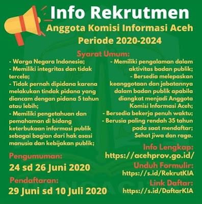 endaftaran Rekrutmen Anggota Komisi Informasi Aceh Periode 2020-2024