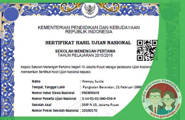 """Sertifikat Hasil Ujian Nasional  atau SHUN Akan Menggunakan """"Barcode"""""""