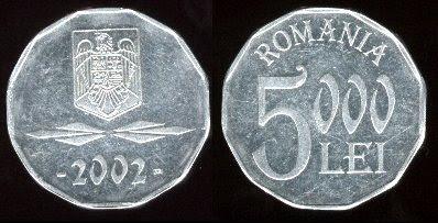 Romania 5,000 Lei (2001+)