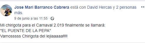 """Nombre de la chirigota de José María Barranco y el Lejía """"El Puente de la Pepa"""" para el COAC 2019"""