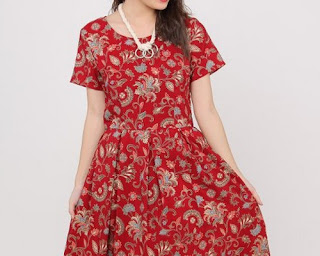 model baju atasan batik kombinasi polos