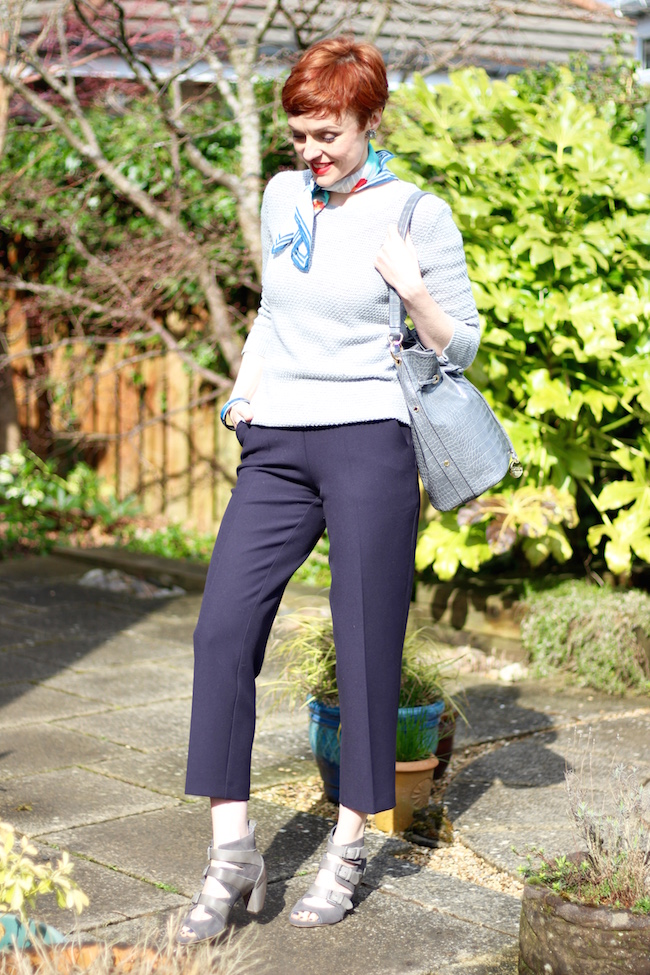 Fake Fabulous | Navy Cropped Trousers, Grey Jumper & Neckerchief