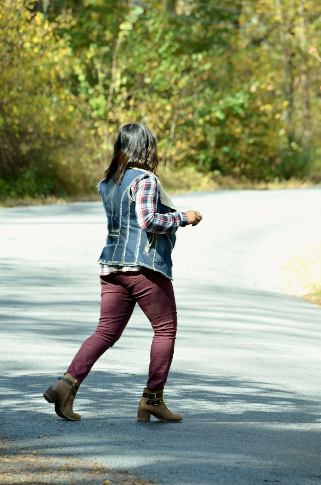 Plaid-Shirt-Denim-fur-vest-Loft-Burgundy-Pants-Franco-Sarto-Ankle-Booties-Illesteva-Sunglasses