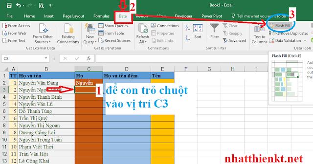Tách họ tách tên trong Excel 2016 đơn giản trong 1 giây