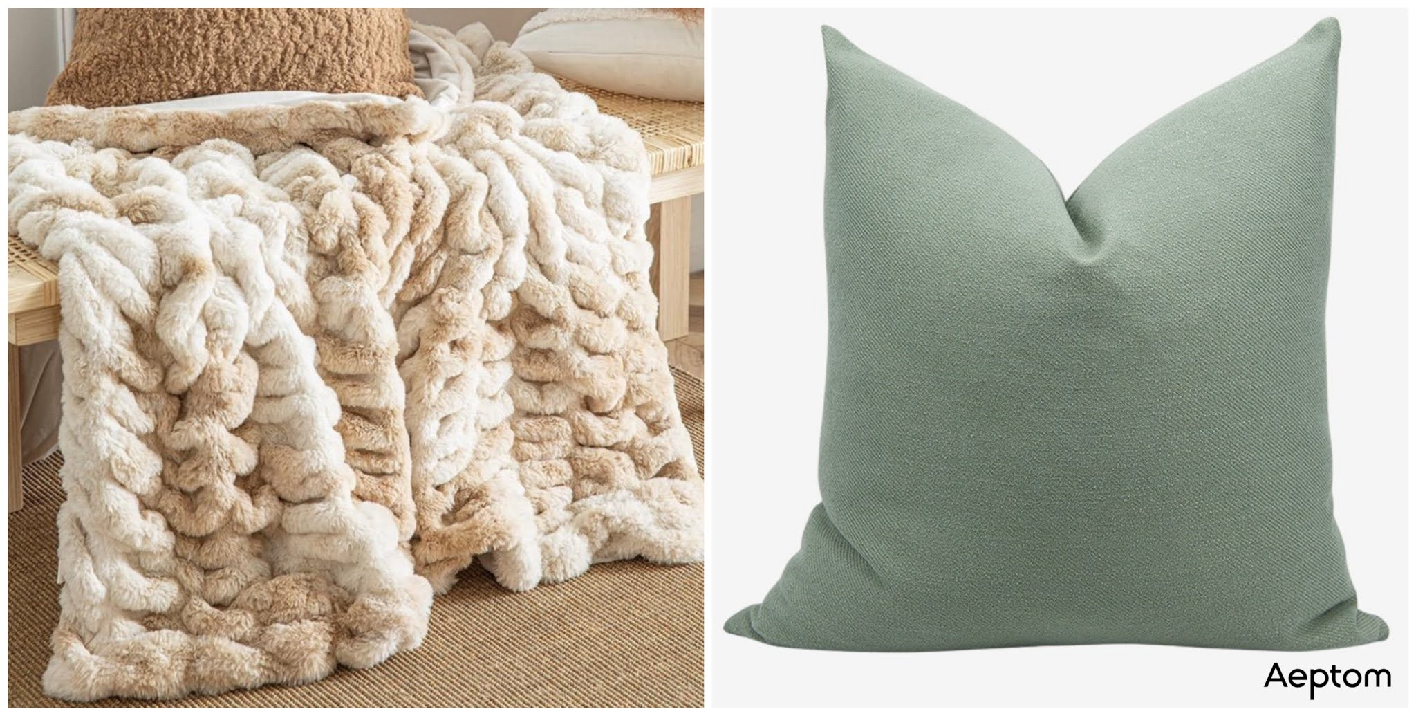 fur blanket and throw pillow