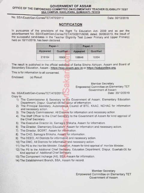 Assam TET Result 2019 Notice