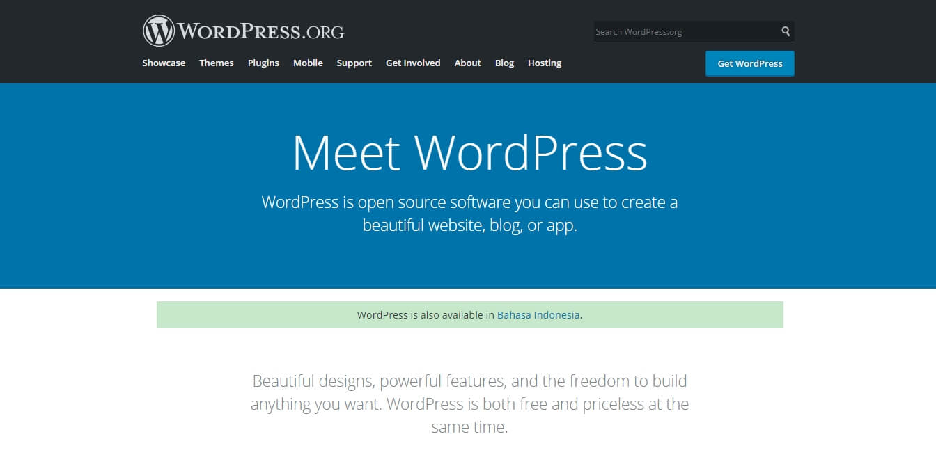 Tampilan Wordpress org