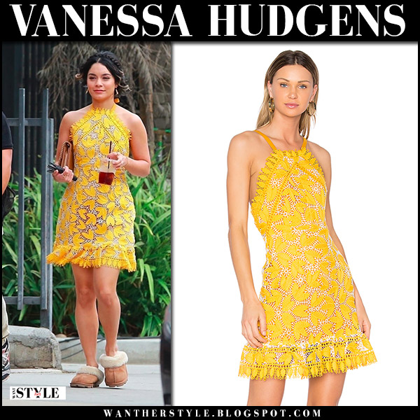 Vanessa Hudgens in yellow lace mini dress aijek movie set november 3 2017