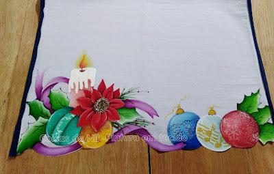 pintura natalina vela e bolas de natal