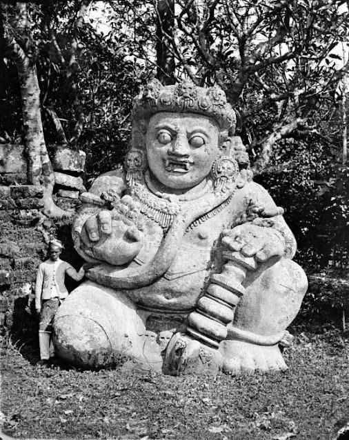 A 12 feet high Dvarapala or door-guardian at Candi Singosari, Java