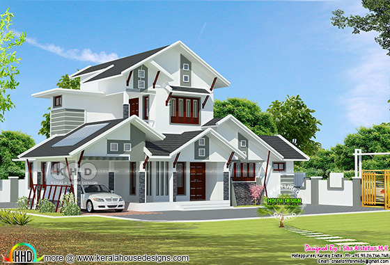 1908 square feet modern sloping roof 4 bedroom home