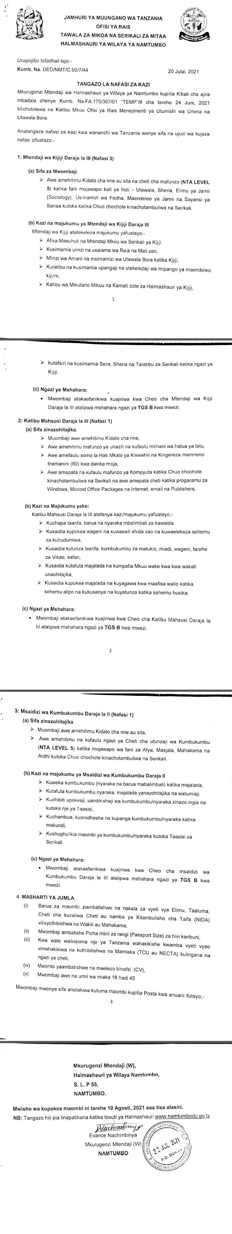 Executive Officers WATENDAJI at Namtumbo District Council July 2021