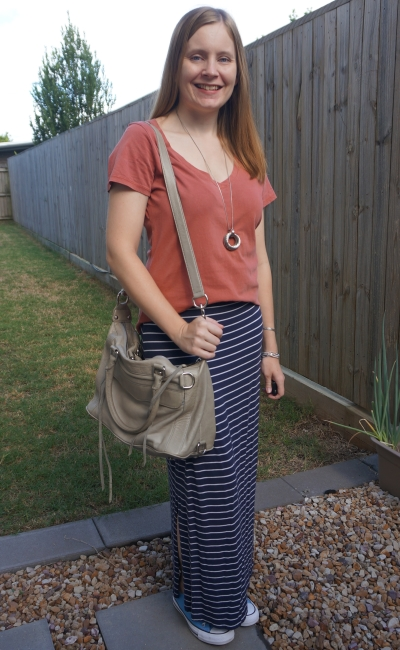 clay v neck tee with nay stripe maxi skirt grey RM mini mab bag | awayfromblue