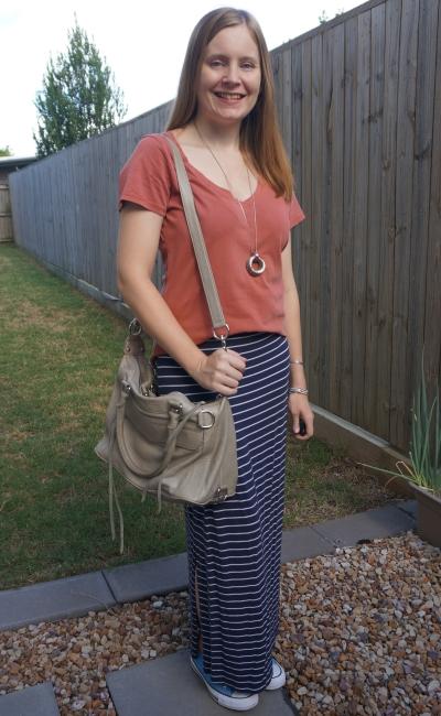 clay v neck tee with nay stripe maxi skirt grey RM mini mab bag | awayfromblue