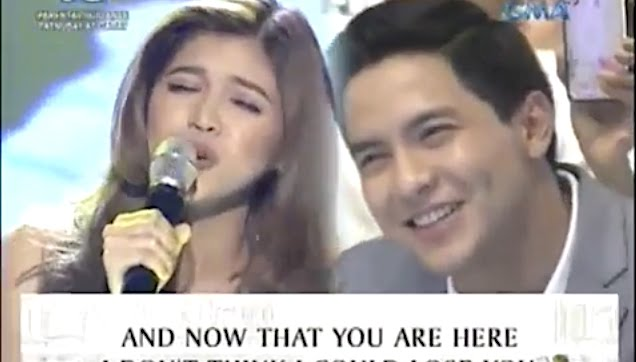 Maine Mendoza singing the theme song of her movie together with Alden Richards