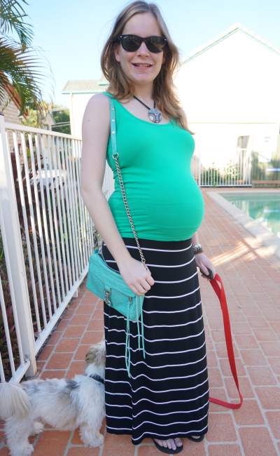 39 weeks pregnant non-maternity clothes fitted tank stripe maxi skirt