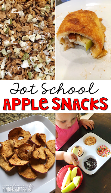 This yummy apple themed snacks are perfect for an apple theme in tot school, preschool, or kindergarten!