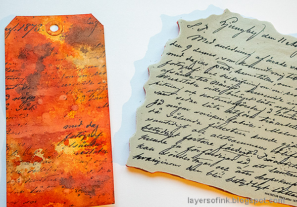 Layers of ink - Crackling Campfire Tag Tutorial by Anna-Karin Evaldsson. Simon Says Stamp Old Letter background stamp.