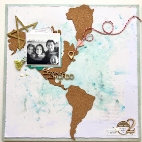 Travel The World Double Scrapbook Page by Angela Tombari for Yuppla Craft DT