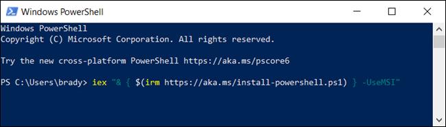 اكتب الأمر التالي لتنزيل حزمة MSI من PowerShell.