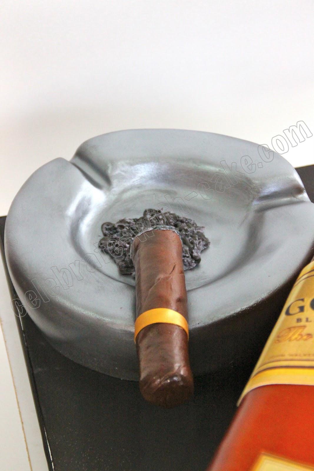Johnnie Walker Whiskey Bottle Cigar Cake