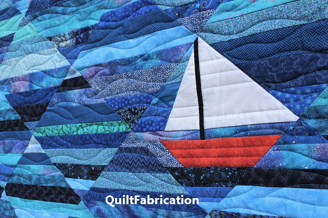 sailboat block in the Seafarer quilt by QuiltFabrication