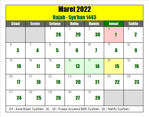 kalender islam hijriyah maret 2022 masehi - kanalmu