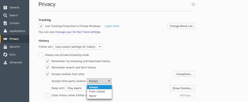 Enable Firefox Cookies Mac