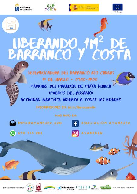Avanfuer limpieza - Fuerteventura.- Avanfuer se une campaña nacional Libera 1m² , realizando una limpieza de basuraleza en desembocadura Barranco Río Cabras