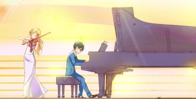 Auf der Bühne: Links spielt Kaori im Abendkleid Violine, Rechts und etwas weiter hinten sitzt Kousei am offenen Flügel und begleitet sie