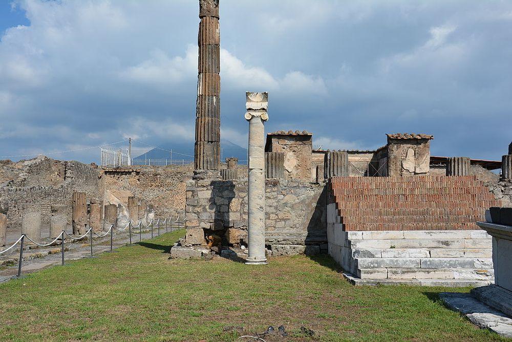 Sundial at the Temple of Apollo in Pompeii.
