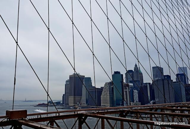 Estátua da Liberdade vista da Ponte do Brooklyn