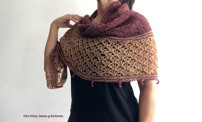 Con hilos, lanas y botones: Chal Picard (patrón de Las manos de alea, @lasmanosdealea)