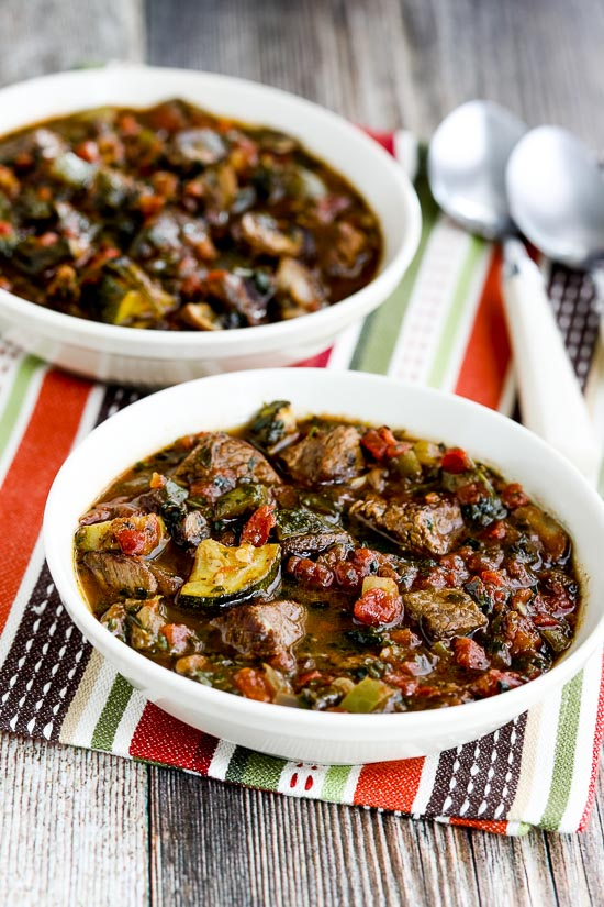 Paleo Italian Beef Stew with Zucchini, Mushrooms, and Basil found on KalynsKitchen.com