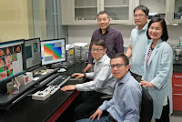Brookhaven scientists are shown at the Center for Functional Nanomaterials. Pictured from left to right are: (top row) Jianming Bai, Seongmin Bak, and Sooyeon Hwang; (bottom row) Dong Su and Enyuan Hu. (Credit: bnl.gov) Click to Enlarge.