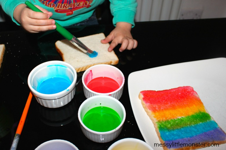 painted bread using edible milk paint recipe for kids.