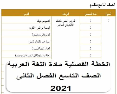 الخطة الفصلية مادة اللغة العربية الصف التاسع الفصل الثانى 2021