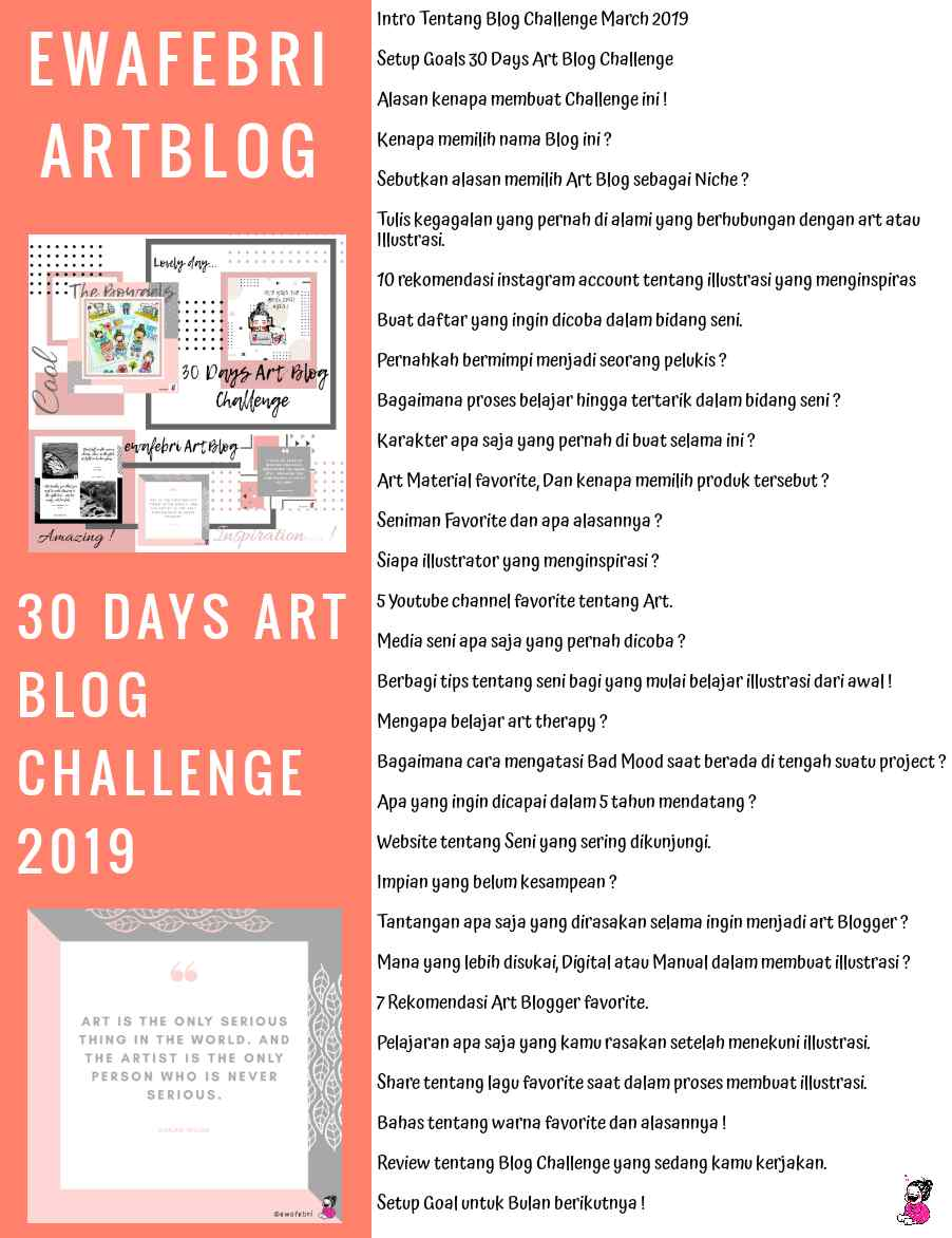 Artblog 30 Days Art Blog Challenge March 2019 Ewafebri Artblog