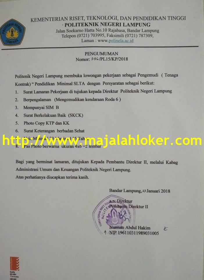 Lowongan Driver / Sopir / Pengemudi Politeknik Negeri Lampung (POLINELA)