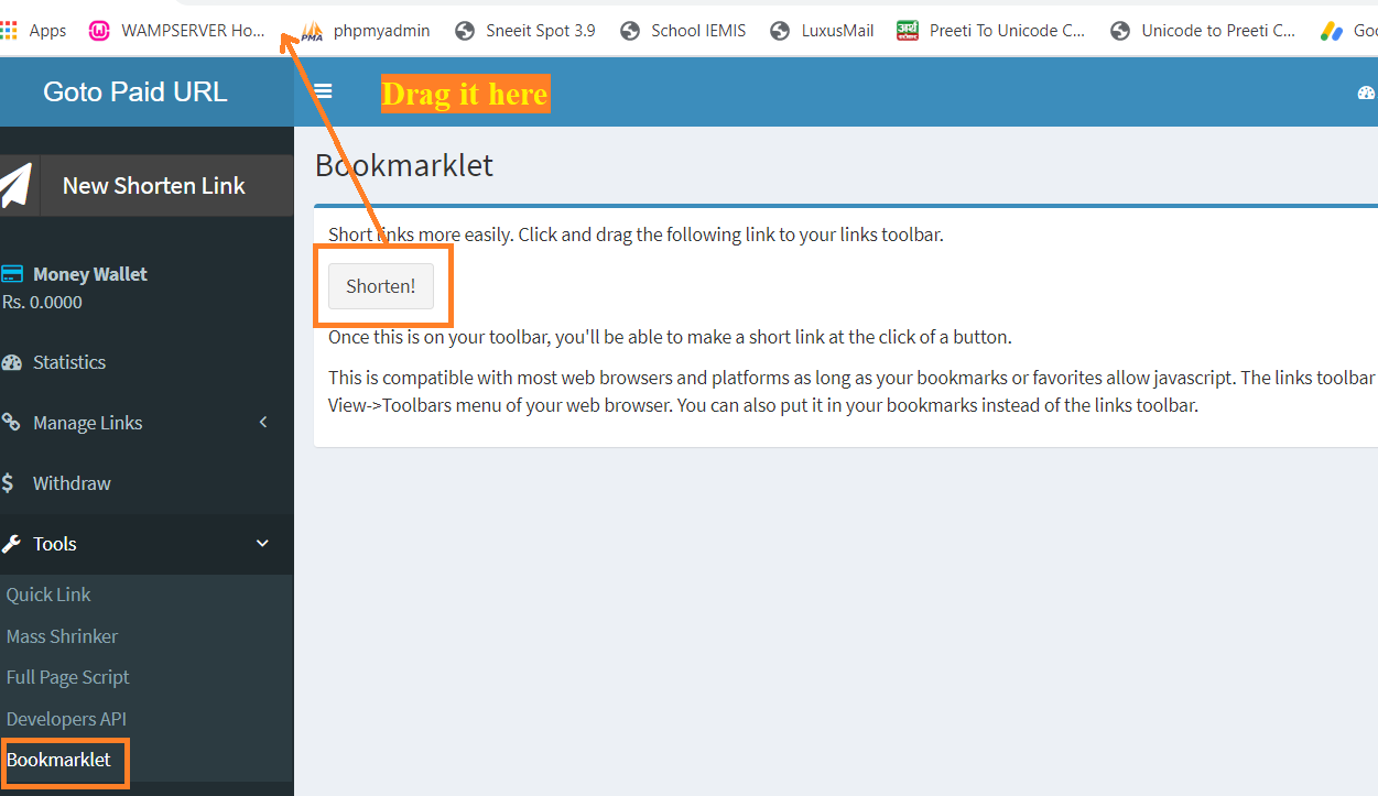 Bookmarklet Tool of Goto Paid URL Shortener