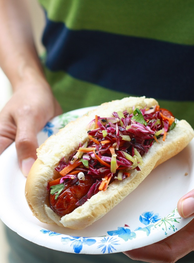 grilled organic grass fed beef hotdog (from Thousand Hills Cattle Company in Canon Falls Minnesota) with asian coleslaw topping