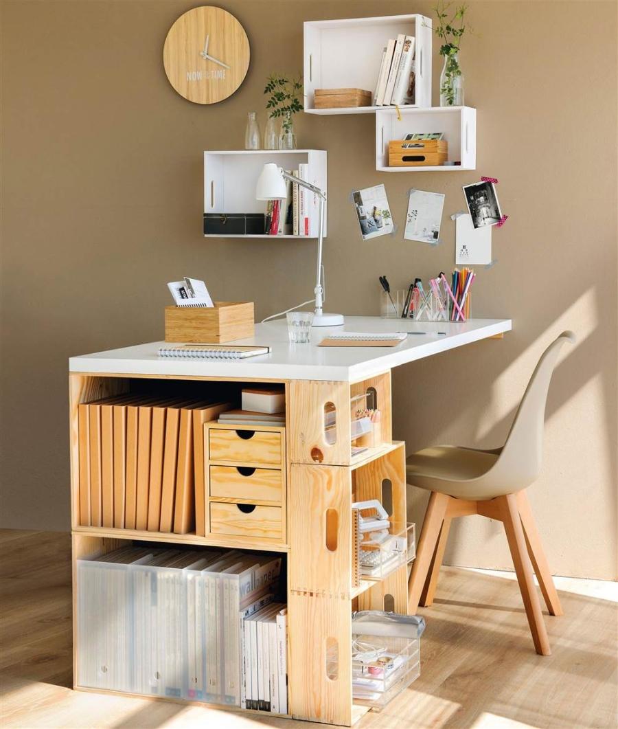 wystrój wnętrz, wnętrza, urządzanie mieszkania, dom, home decor, dekoracje, aranżacje, DIY, zrób to sam, regał, furniture, drewniane skrzynki, wooden boxes, desk, bookcase, biurko, półki, shelfs, regał, meble